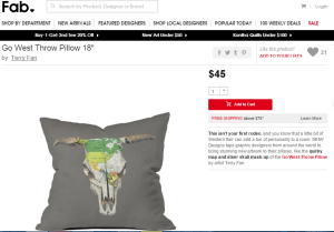 go west pillow