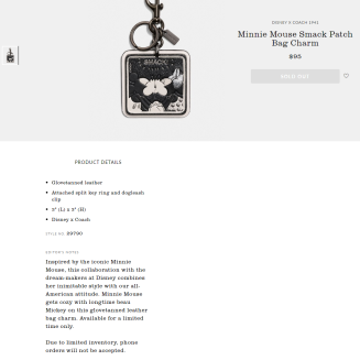 COACH_ Minnie Mouse Bag Charm